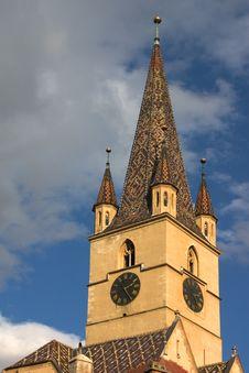 Tower Of Evangelic Church Sibiu Royalty Free Stock Photos