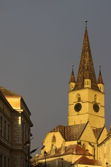 Tower Of Evangelic Church Sibiu Royalty Free Stock Photography