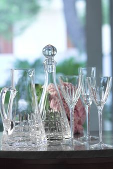 Free Bottle, Carafe And Glasses Stock Images - 3744804