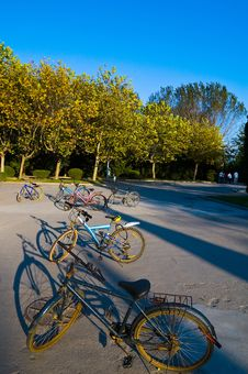 Free Bicycles On A Courtyard Stock Photo - 3745310