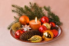 A Christmas Ornament With Candle Royalty Free Stock Image