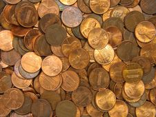 Pile Of US Cents Stock Photography