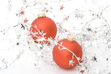 Two Red Ornaments With Stars Stock Images