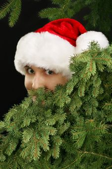 Free Christmas Girl Peeking Royalty Free Stock Photography - 3747347