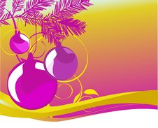 Free 3 Shiny Ornaments On Purple And Yellow Royalty Free Stock Images - 3748569