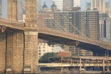 Free Lower Manhatten,Brooklyn Bridge & Buildings Royalty Free Stock Photography - 3749087