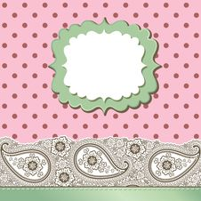 Vintage Paisley Strip Lace And Polka Dot.Design Te Stock Photography