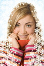 Free Beauty Girl Close Up Portrait In Scarf Stock Photography - 3757862