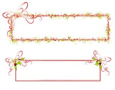 Decorative Ribbon And Holly Banners