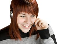 Free Smiling Call Center Redhead Stock Image - 3752991