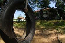 Free Tyre Swing And Old House Surround By The Tree Stock Photo - 3754050