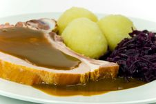 Free Dumpling With Pork Chop And Red Cabbage Stock Photos - 3754173