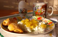 Cottage Cheese With Jam, Milk And Cookies Royalty Free Stock Photo