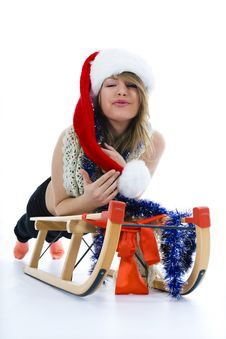 Free Beautiful  Young Woman On Sledge Stock Image - 3755371