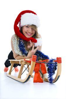 Free Beautiful  Young Woman On Sledge Stock Photo - 3755540
