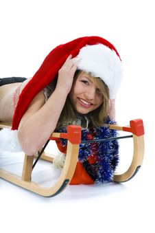 Free Beautiful  Young Woman On Sledge Royalty Free Stock Image - 3755546