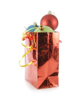 Bag With Colorful Christmas Balls Stock Photos