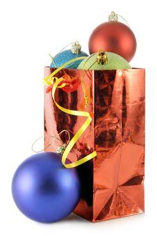 Bag With Colorful Christmas Balls Stock Photo