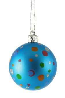 Free Blue Christmas Ball With Colorful Spots Stock Photography - 3755752