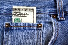 One Hundred Dollar Bill In Jeans Pocket Royalty Free Stock Images