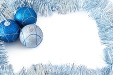Free Three Christmas Baubles With Silver Tinsel Stock Photography - 3757082