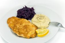 Free Viennese Steak,puree With Red Cabbage Stock Photos - 3757193