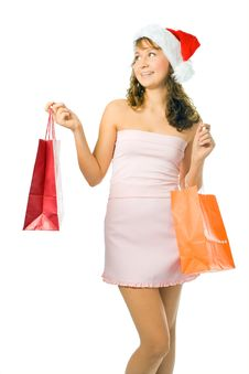 Free Shopping Woman  With Package Royalty Free Stock Image - 3757736