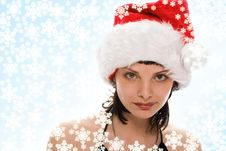 Free Beauty Girl In Santa Red Cap Stock Images - 3757744
