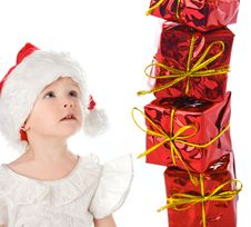 Free Baby In Red Hat With Box Gif Royalty Free Stock Photo - 3757805