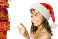 Free Woman In Red Cap And Gift Box Royalty Free Stock Photos - 3757888