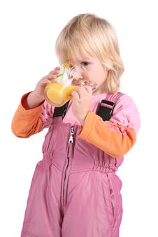 Girl Drinks Juice Stock Photo