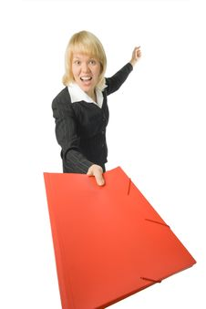 Free Fury Business Woman With Red Folder Royalty Free Stock Images - 3762779