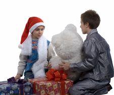 Free Santa Boy & Friend Stock Photo - 3763020
