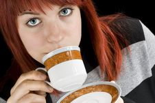 Free Girl Sipping Coffee Royalty Free Stock Images - 3763779