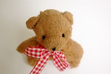 Free Small Teddy Bear With Gingham Bow Stock Photography - 3763922