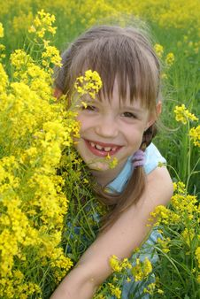 Free Girl At  A Field Of Flowers Royalty Free Stock Photography - 3764917