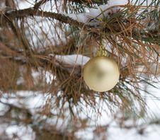 Free Gold Christmas Ornament (horizontal) Royalty Free Stock Photos - 3766088