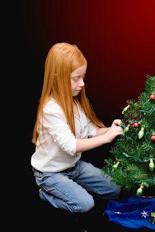 Small Girl Christmas Tree Stock Photo