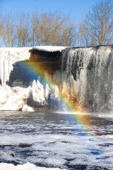 Free Rainbow Over Iced Waterfall Stock Photos - 3766623