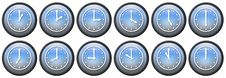 Free Twelve Buttons With Clocks Royalty Free Stock Images - 3768089