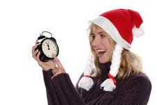 Free Blond Girl In Red Santa S Cap Royalty Free Stock Photo - 3768805