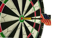 Dart Hitting The Bulls Eye Stock Photography