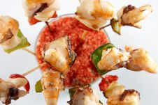 Free Skewer Of Prawns Royalty Free Stock Photos - 3769328
