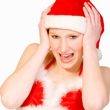 Beautiful Christmas Girl Is Screaming Stock Images