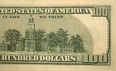 Free Back Half Of A One Hundred Dollar Bill Stock Photo - 3769670