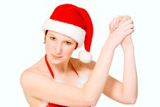 Christmas Girl Is Celebrating Stock Photography