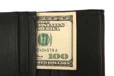 Free Black Wallet And One Hundred Dollar Bill Royalty Free Stock Image - 3769676
