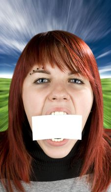 Free Girl Biting A Blank Greeting Card Royalty Free Stock Images - 3769999