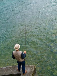 FLy Fisherman Royalty Free Stock Images