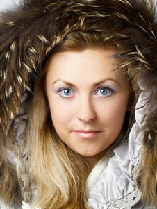 Free Beautiful Blonde Girl In Fur Hood Stock Photography - 3774382